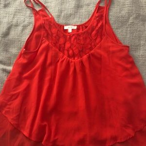 Mine red tank top with ruffles